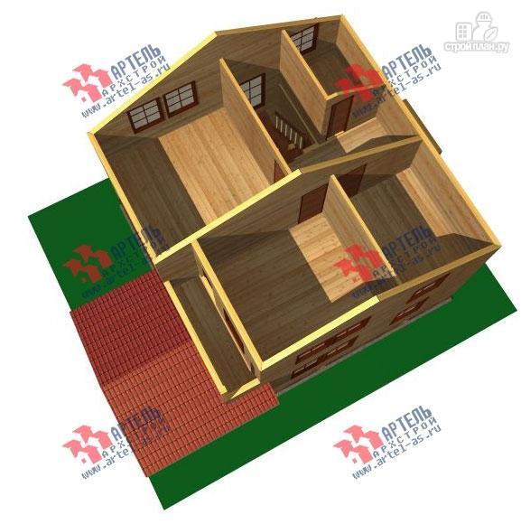 Фото 3: проект дом 8х8 из бруса с террасой