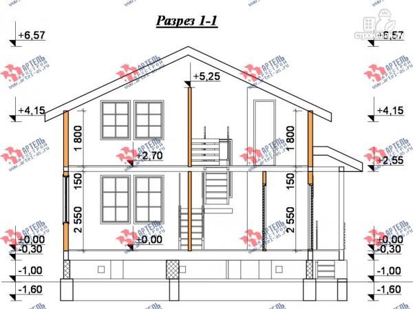 Фото 10: проект дом 8х8 из бруса с террасой