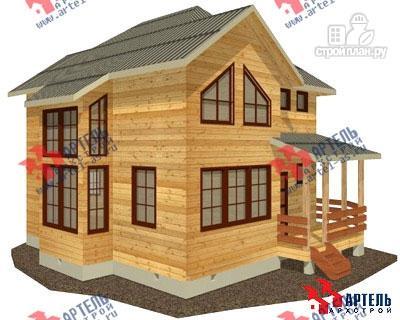 Фото: проект двухэтажный дом из бруса с угловой террасой