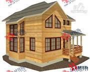 Проект двухэтажный дом из бруса с угловой террасой