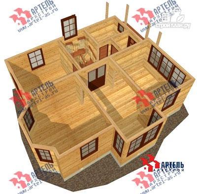 Фото 6: проект двухэтажный дом из бруса с угловой террасой
