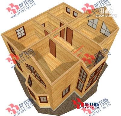 Фото 7: проект двухэтажный дом из бруса с угловой террасой