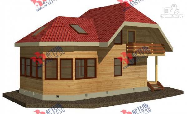Фото: проект дом из бруса с просторной верандой