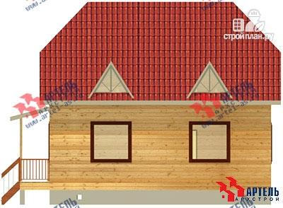 Фото 4: проект дом 8х9 из бруса, с эркером