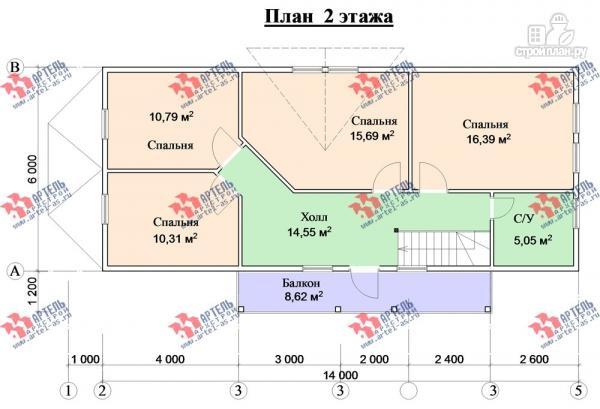 Фото 9: проект дом 6х15 из бруса с эркером, для узкого участка