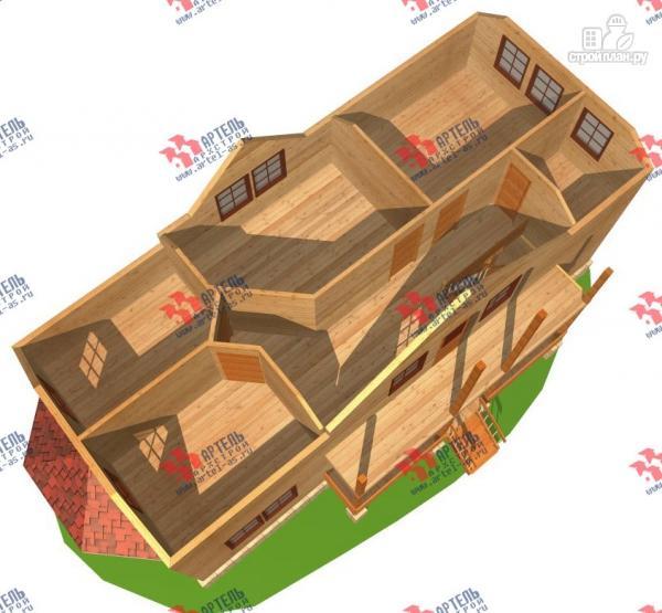Фото 3: проект дом 6х15 из бруса с эркером, для узкого участка
