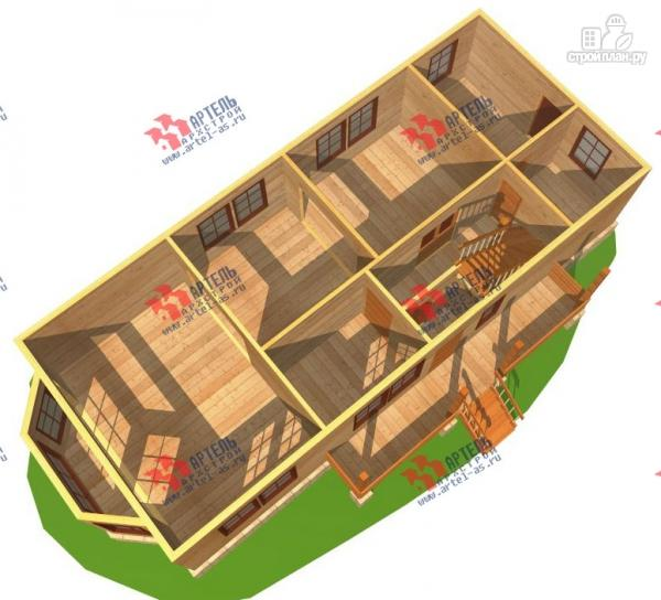 Фото 2: проект дом 6х15 из бруса с эркером, для узкого участка