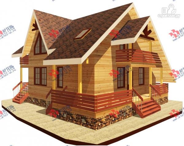 Фото: проект брусовой дом с террасой и балконом