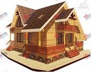 Проект брусовой дом с террасой и балконом