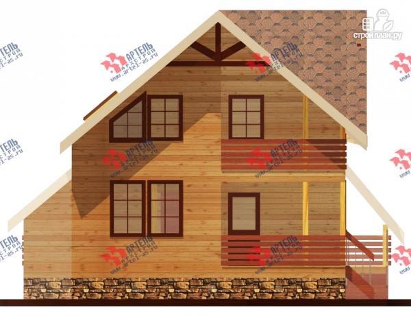 Фото 4: проект брусовой дом с террасой и балконом