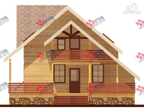 Фото 2: проект брусовой дом с террасой и балконом