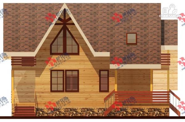 Фото 5: проект брусовой дом с террасой и балконом