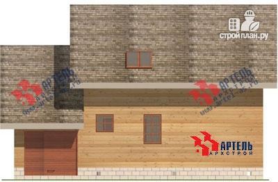 Фото 4: проект дом из бруса с крыльцом и гаражом