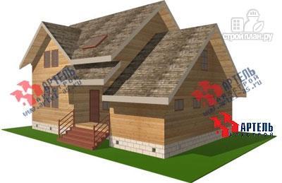 Фото: проект дом из бруса с крыльцом и гаражом