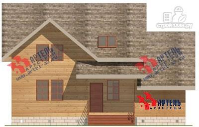 Фото 2: проект дом из бруса с крыльцом и гаражом
