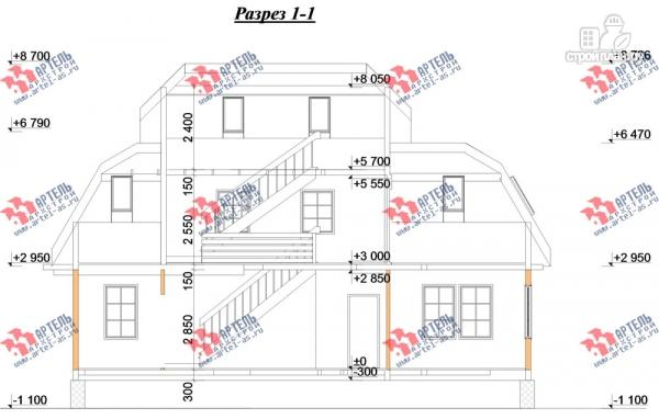 Фото 12: проект трёхэтажный дом 6х14 из бруса