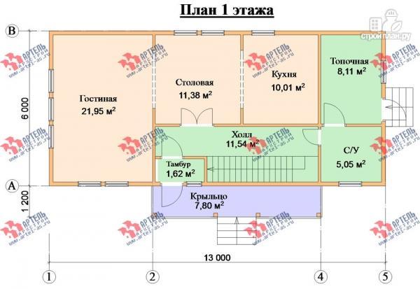 Фото 9: проект трёхэтажный дом 6х14 из бруса