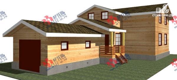 Фото: проект дом из бруса для узкого участка, с гаражом
