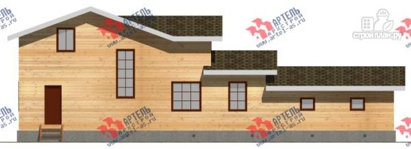 Фото 4: проект дом из бруса для узкого участка, с гаражом