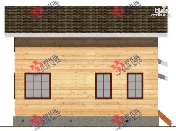 Фото 5: проект дом из бруса для узкого участка, с гаражом