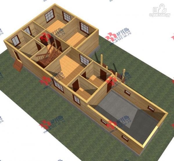 Фото 2: проект дом из бруса для узкого участка, с гаражом