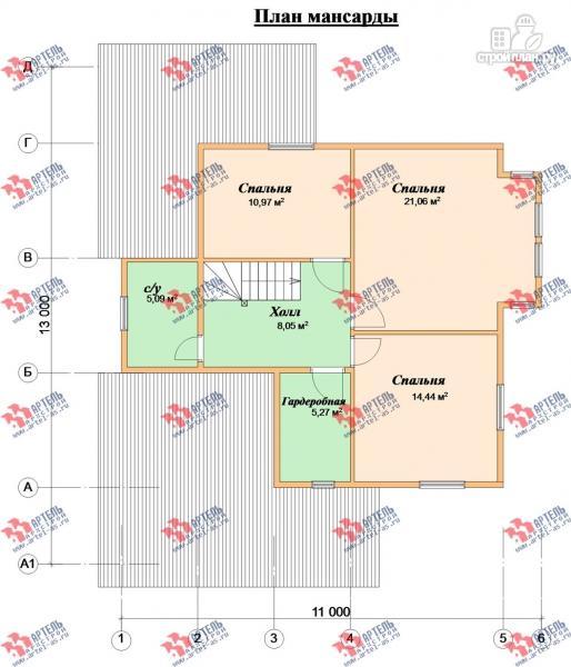 Фото 10: проект трёхэтажный дом 11х13 из бруса, с навесом для машины