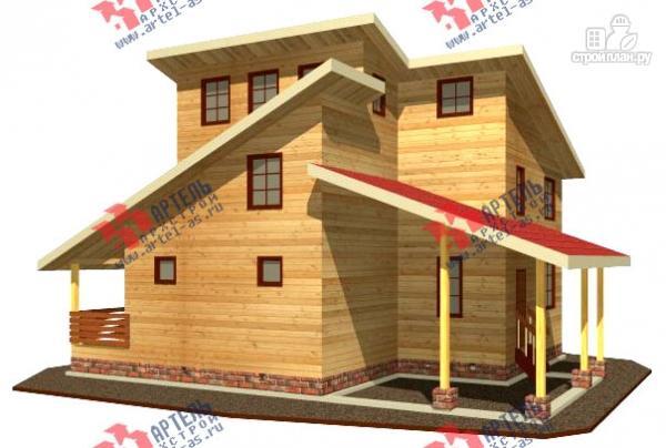 Фото: проект трёхэтажный дом 11х13 из бруса, с навесом для машины