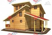 Фото: трёхэтажный дом 11х13 из бруса, с навесом для машины
