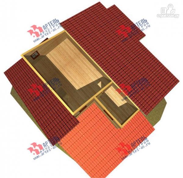 Фото 4: проект трёхэтажный дом 11х13 из бруса, с навесом для машины