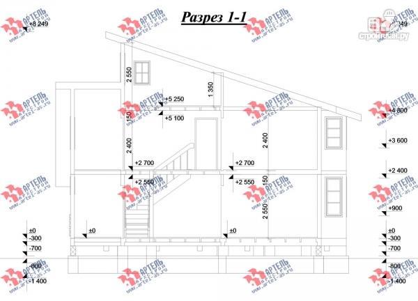 Фото 12: проект трёхэтажный дом 11х13 из бруса, с навесом для машины