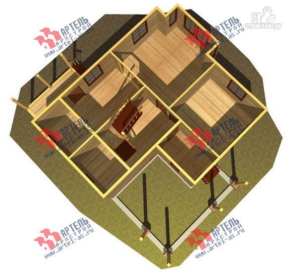 Фото 2: проект трёхэтажный дом 11х13 из бруса, с навесом для машины