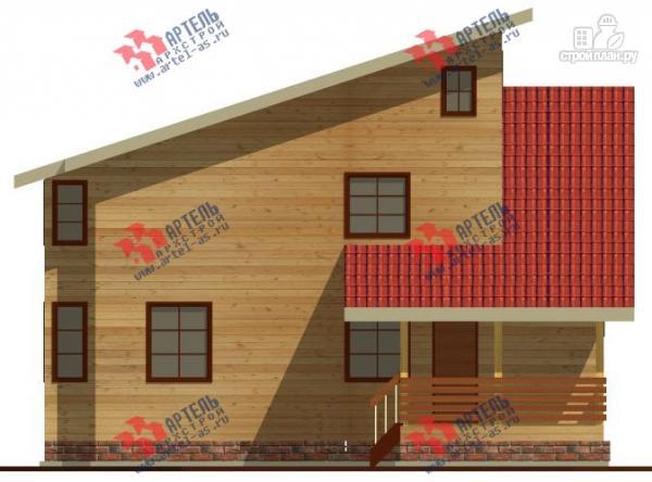 Фото 6: проект трёхэтажный дом 11х13 из бруса, с навесом для машины