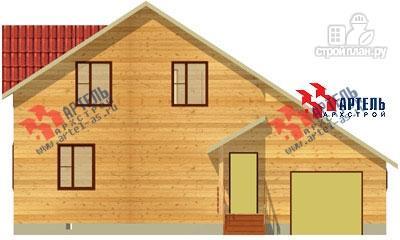 Фото 2: проект дом из бруса, с верандой и гаражом