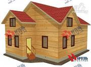 Проект дом из бруса, с верандой и гаражом