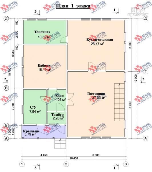 Фото 8: проект просторный дом из бруса с кабинетами на первом и втором этаже