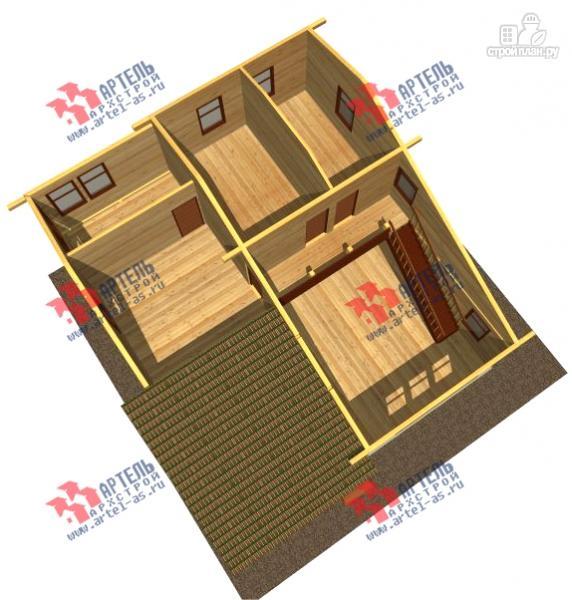 Фото 3: проект просторный дом из бруса с кабинетами на первом и втором этаже