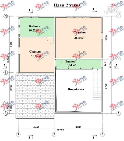 Фото 9: проект просторный дом из бруса с кабинетами на первом и втором этаже