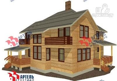 Фото: проект дом из бруса с камином в столовой