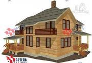 Проект дом из бруса с камином в столовой