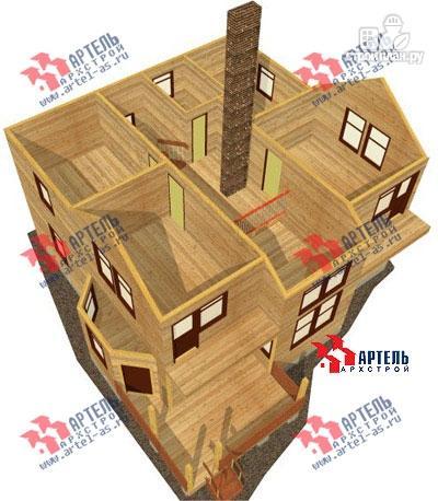 Фото 7: проект дом из бруса с камином в столовой