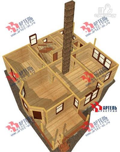 Фото 6: проект дом из бруса с камином в столовой