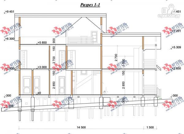 Фото 12: проект трёхэтажный брусовой дом, с парной