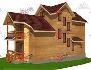 Проект трёхэтажный брусовой дом, с парной