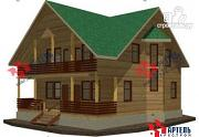 Фото: большой дом из бруса, с террасой и балконом