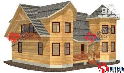 Фото: проект дом из бруса с эркером