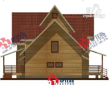Фото 3: проект дом из бруса с террасой и тренажёрным залом