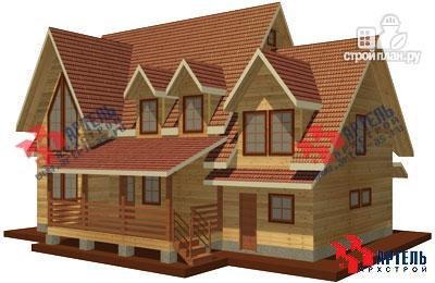 Фото: проект дом из бруса с террасой и тренажёрным залом