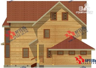 Фото 3: проект трёхэтажный дом из бруса с угловой террасой и гаражом