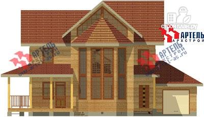 Фото 2: проект трёхэтажный дом из бруса с угловой террасой и гаражом