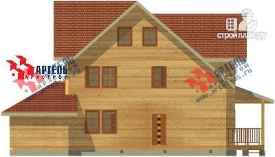 Фото 4: проект трёхэтажный дом из бруса с угловой террасой и гаражом